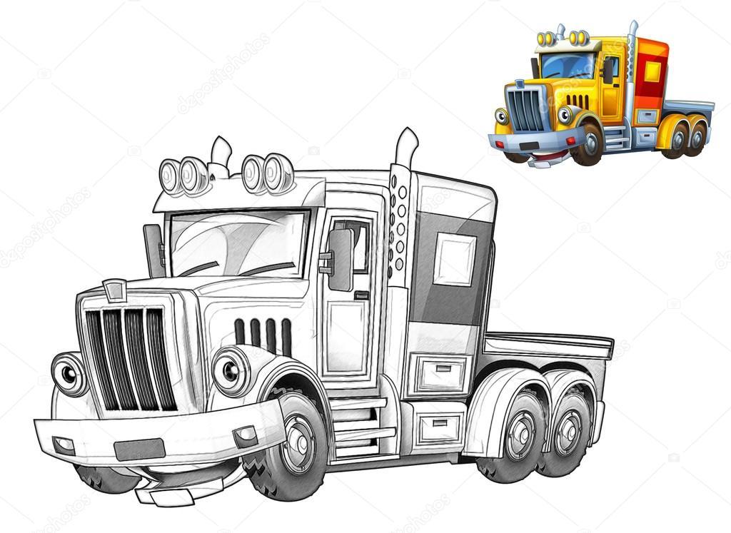 Dibujos Animados Camiones Caricatura Fotos De Stock