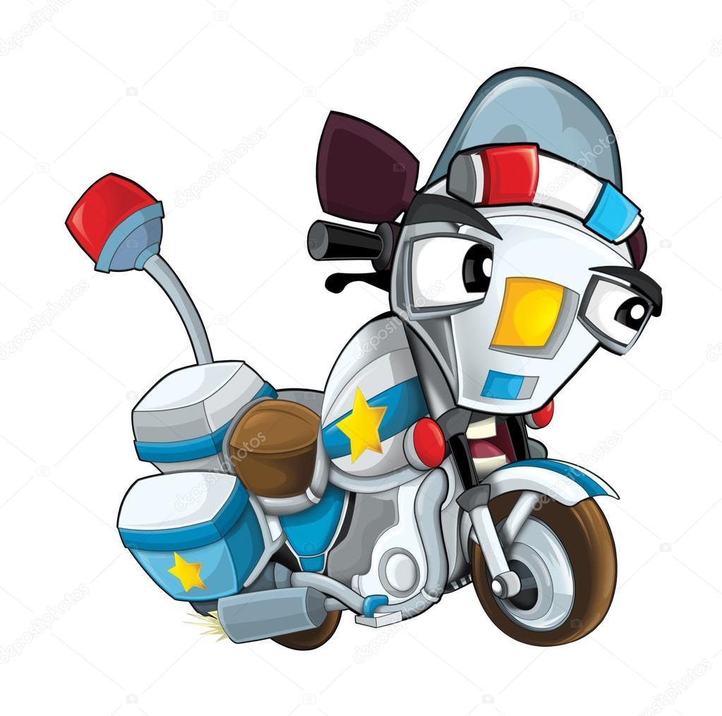 Cartone Animato Polizia Moto Foto Stock Illustrator Hft