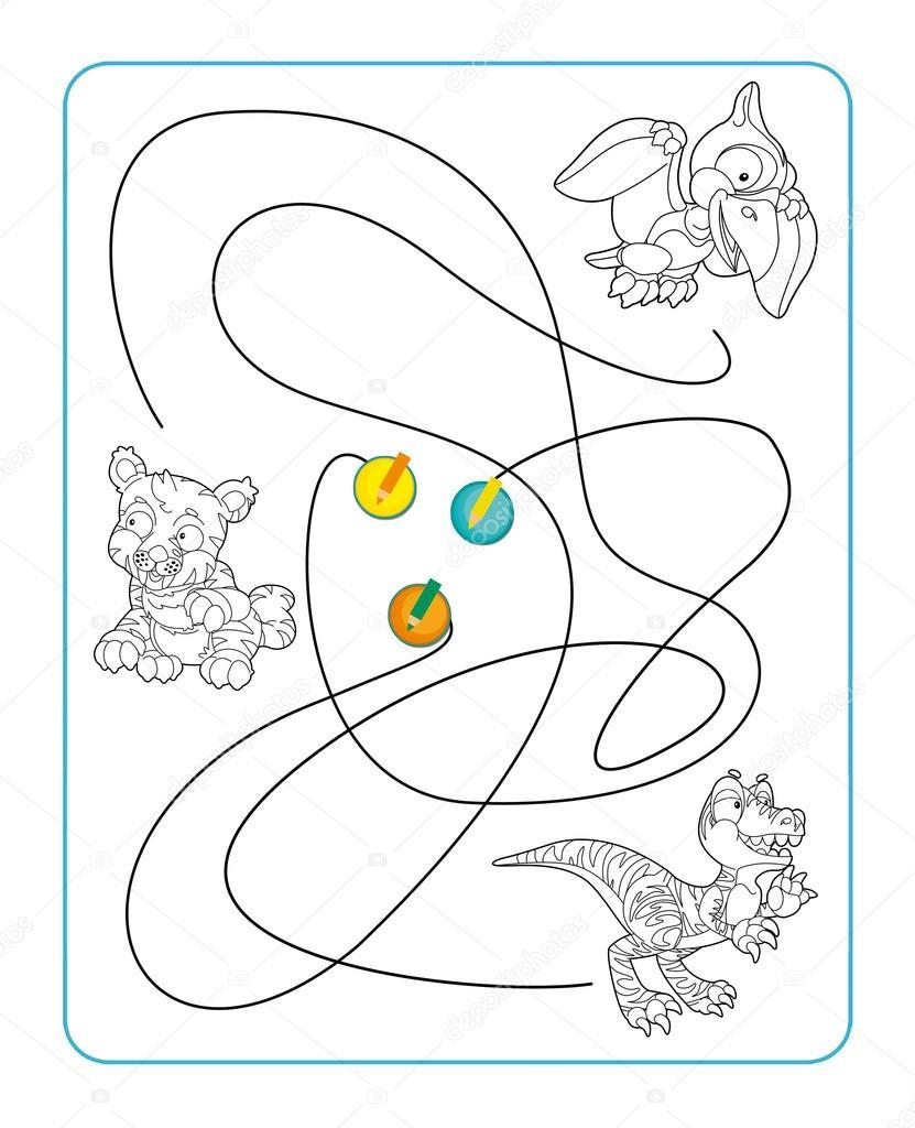 Laberinto de dibujos animados para colorear — Fotos de Stock ...