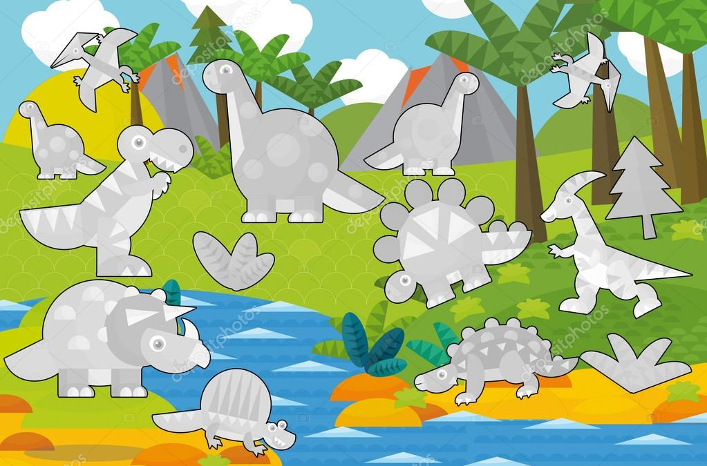 Cartoon coloring game with dinosaurs