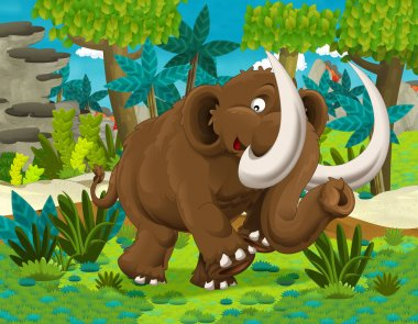 Cartoon mammoth - prehistoric scene