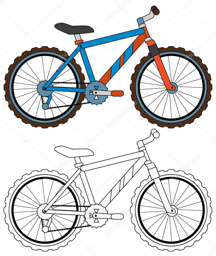 çizgi Film Bisiklet Sayfa Boyama Stok Foto Illustratorhft