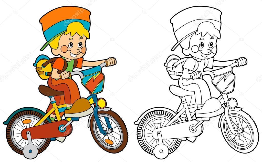 Imágenes: bicicleta para colorear   Niño de dibujos animados en ...
