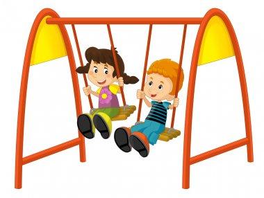 Cartoon children on the swing stock vector