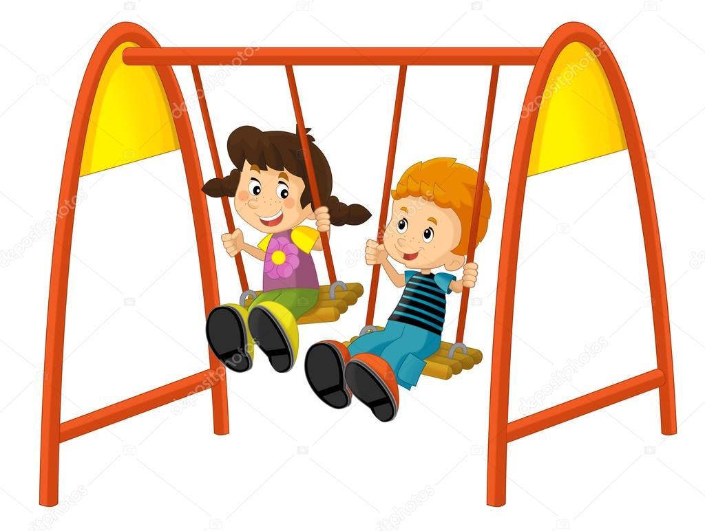 Niños de dibujos animados en el columpio — Fotos de Stock ...