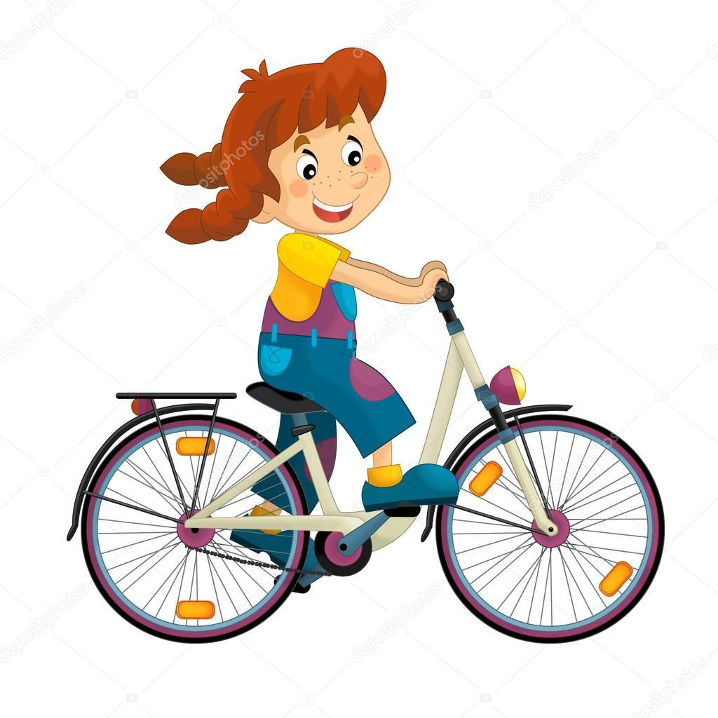 Fille de dessin anim sur le v lo photographie - Dessin bicyclette ...
