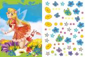 Cartoon fairy princess - sticker page