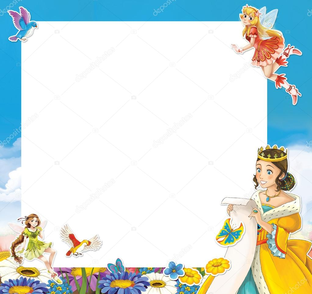 Cartoon-Rahmen mit Prinzessin — Stockfoto © illustrator_hft #82132824