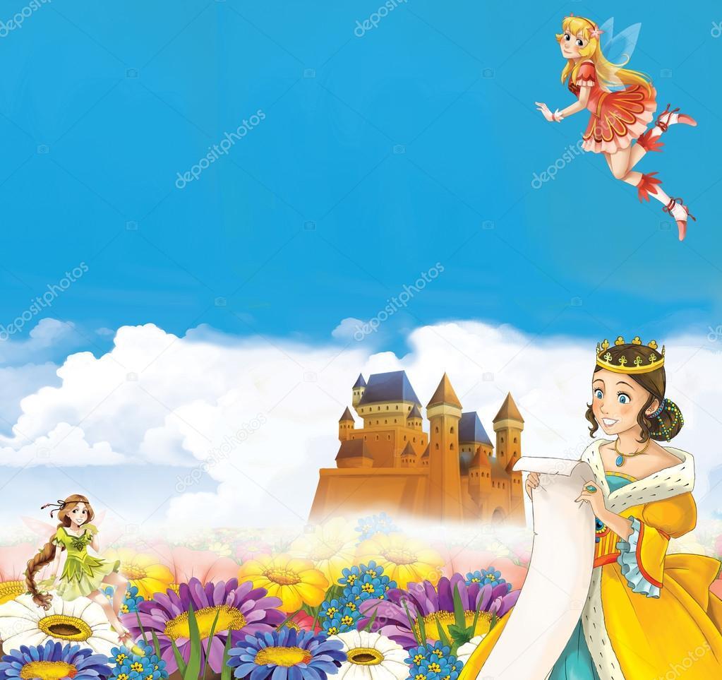 Cartoon-Rahmen mit Prinzessin — Stockfoto © illustrator_hft #82132920