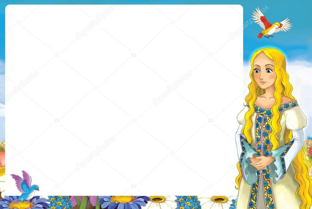 Cartoon-Rahmen mit Prinzessin — Stockfoto © illustrator_hft #84330914