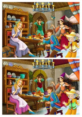Cartoon fairy tale scene for different stories