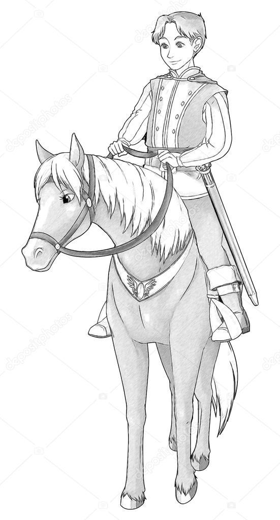 Fairytale Cartoon Character Prince On The Horse Stock