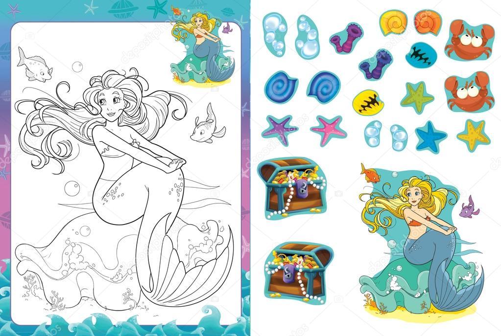Página de dibujos animados para colorear con pegatinas - sirena ...