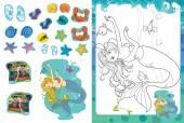 Fotografie Cartoon-Malseite mit Sticker - Meerjungfrau