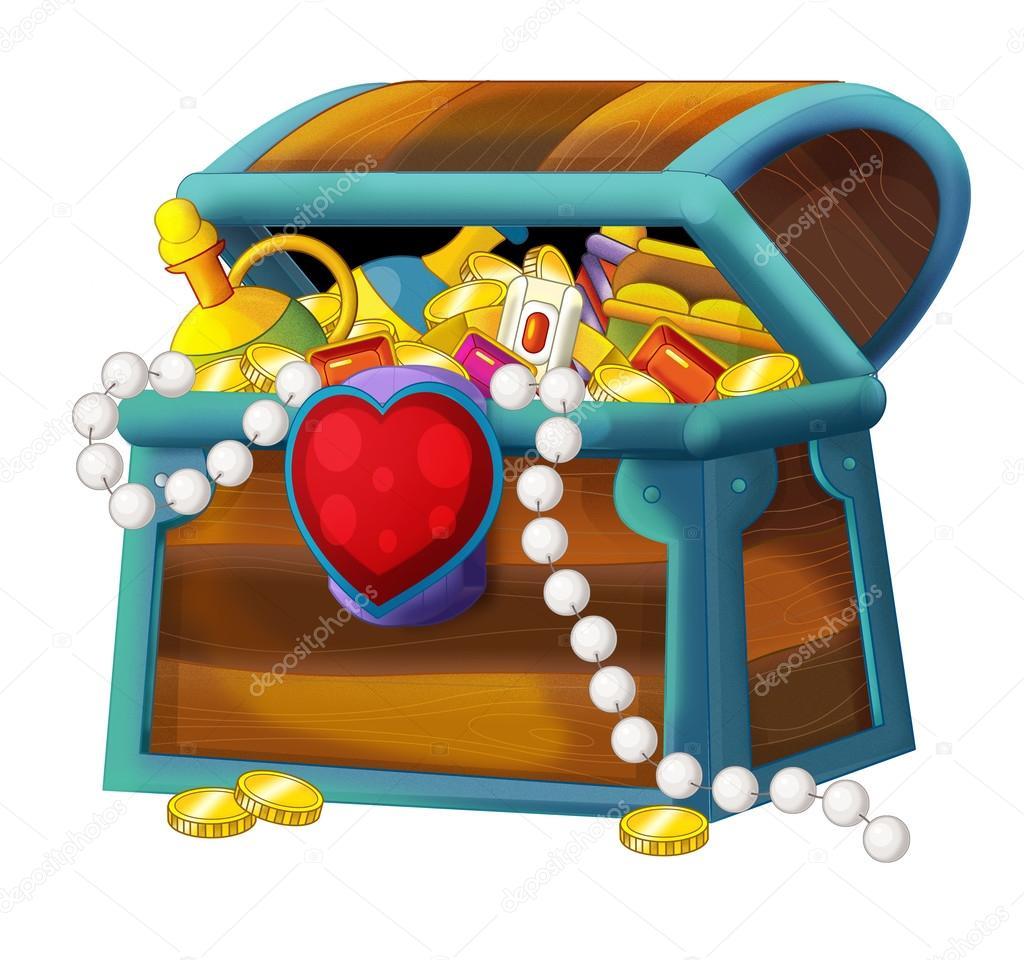 Treasure Toys Cartoon : Tecknade element skattkista med hjärta — stockfotografi