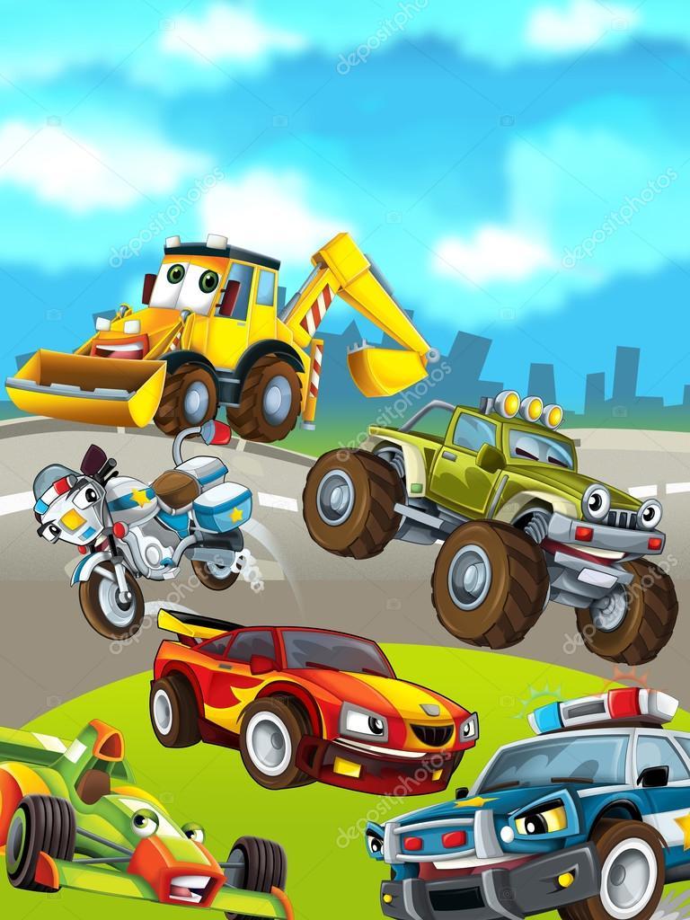 Cartoon Cars On The Background Stock Photo C Illustrator Hft