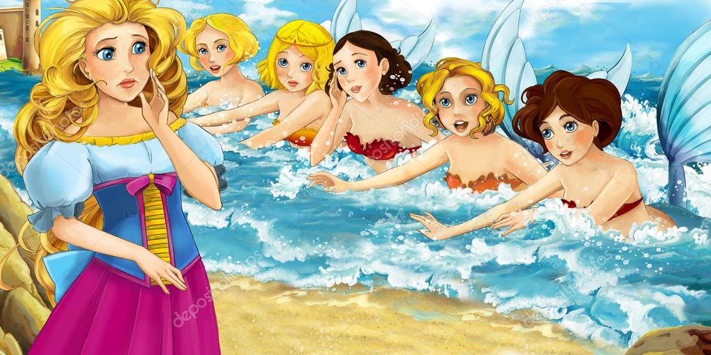 Cartoon ocean and the mermaid with sisters