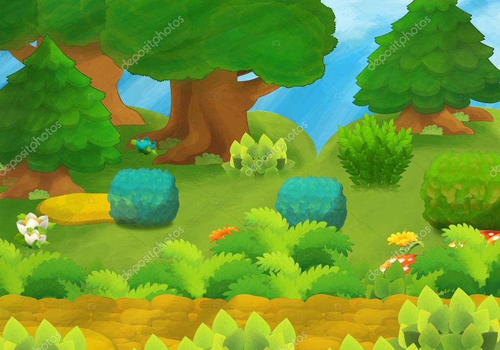 Cartoon background - forest - illustration for the children stock vector