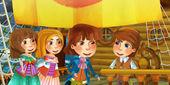 Kreslené scény na lodi - knížete s jeho hosty