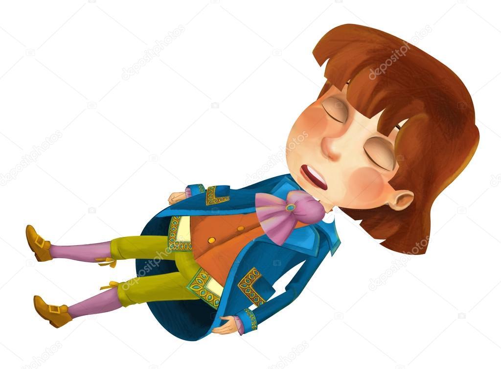 Personaggio dei cartoni animati principe dormire u2014 foto stock