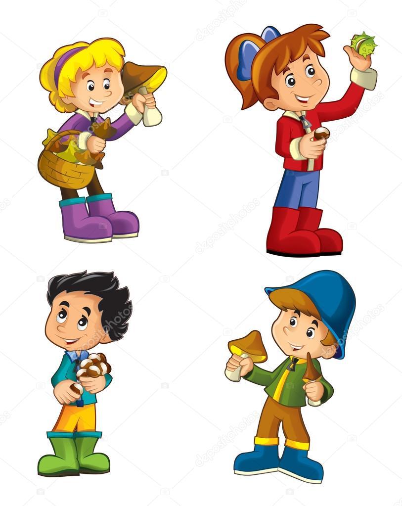Cartoon Kinder Mit Pilzen Und Kastanien Isoliert Stockfoto 90976752