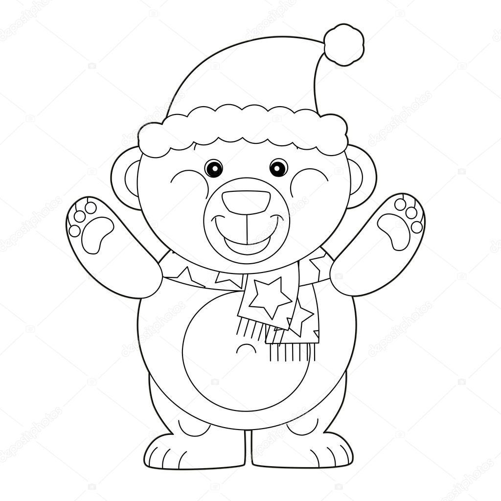 Oso De Navidad Para Colorear Oso De Dibujos Animados De La Navidad
