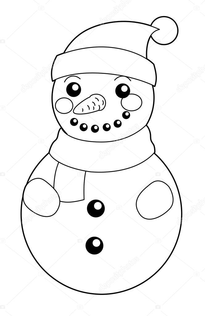 Animado Muñeco De Nieve Para Colorear Dibujos Animados Muñeco De