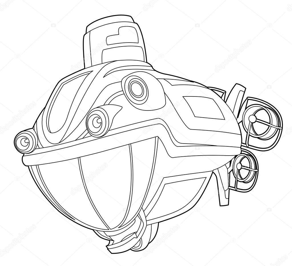 çizgi Film Denizaltı Sayfa Boyama Stok Foto Illustratorhft