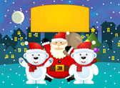 Scena di Natale felice con diversi animali e santa