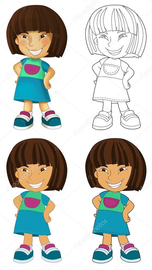 Feliz niño - niña - de página para colorear — Foto de stock ...