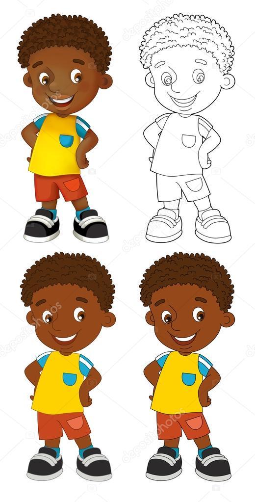 Niño feliz - con página para colorear — Fotos de Stock ...