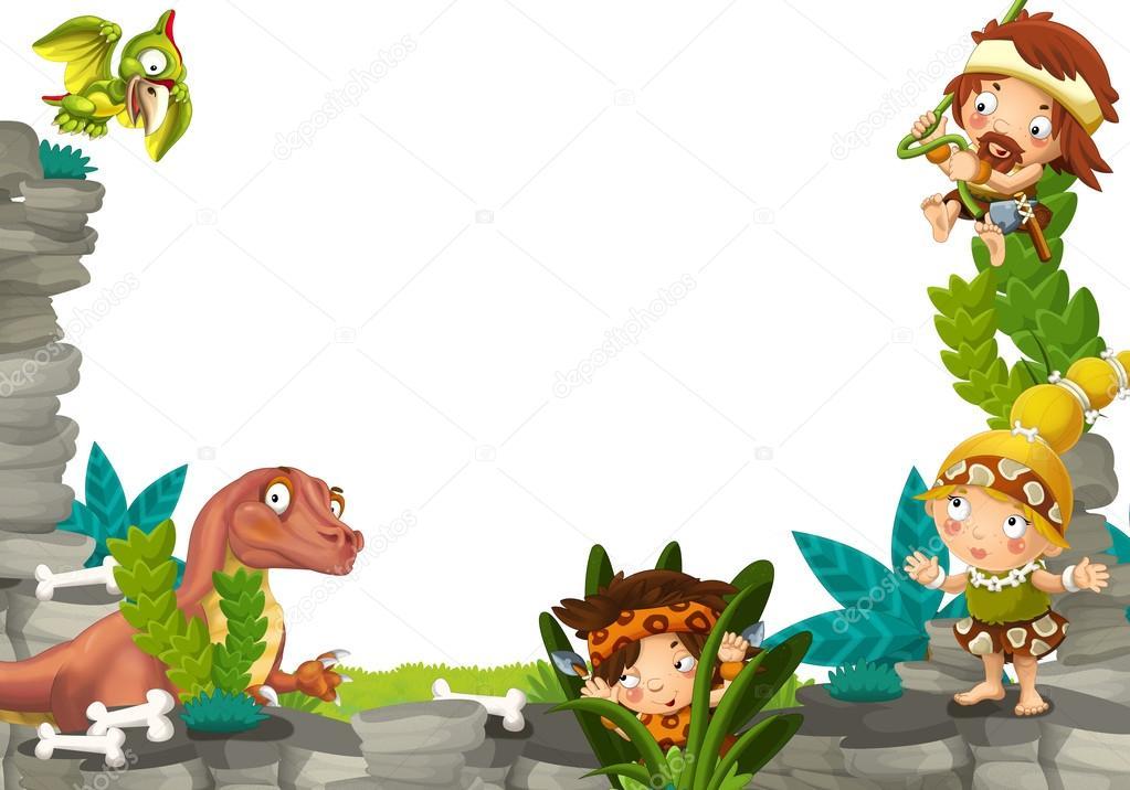Marco prehistórico de dibujos animados — Fotos de Stock ...