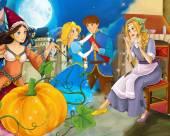 Szene mit armen Mädchen und Prinzessin Zauberin und mit königlichen Paar