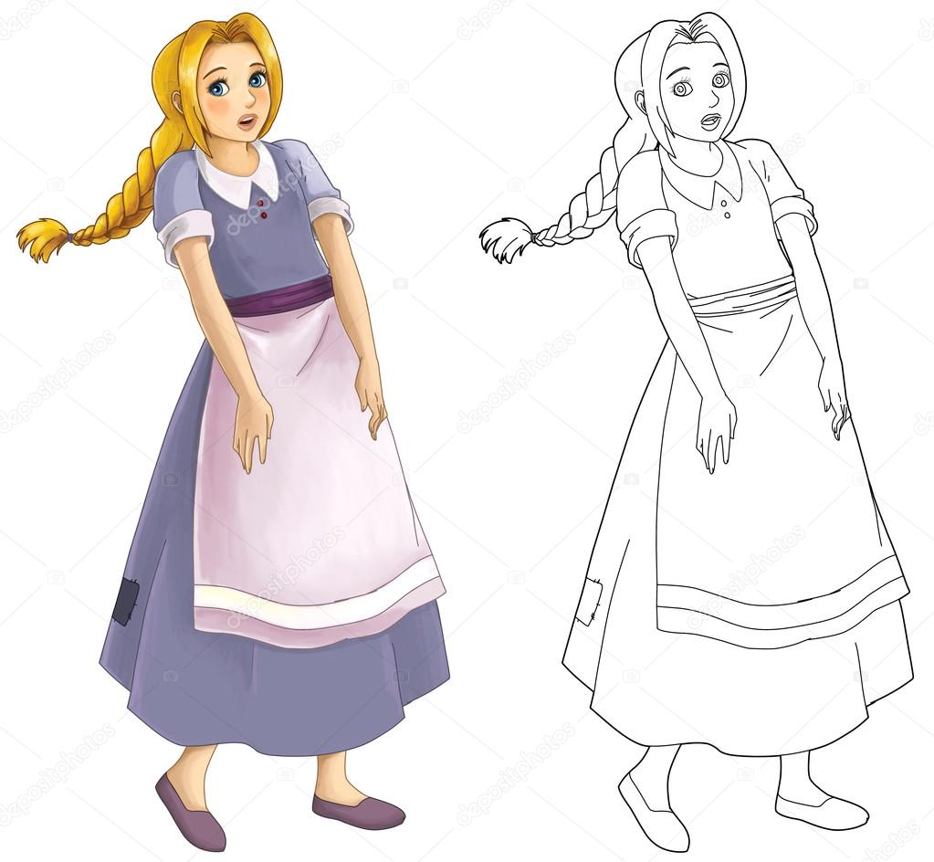 Cartoon Girl In Old Clothes Coloring Page Stock Photo
