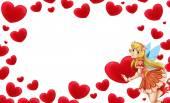 Kreslený snímek s víla a Valentýnské srdce