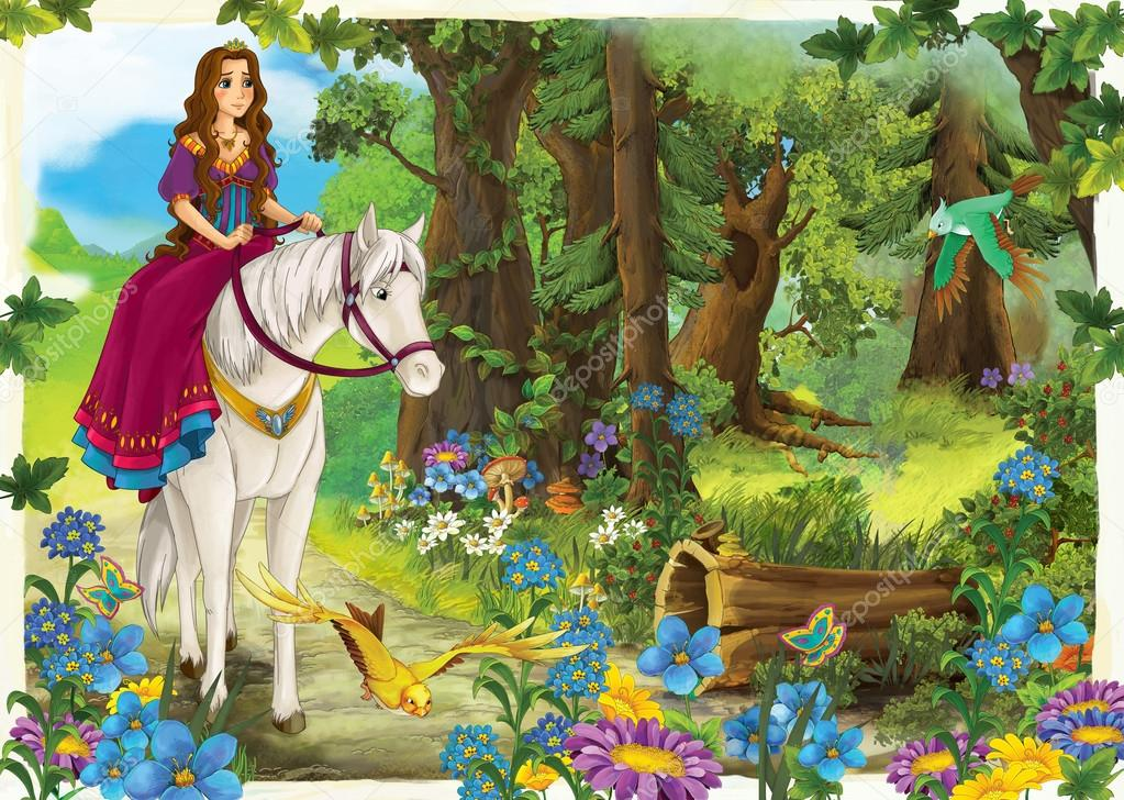 Cartoon girl riding on a white horse