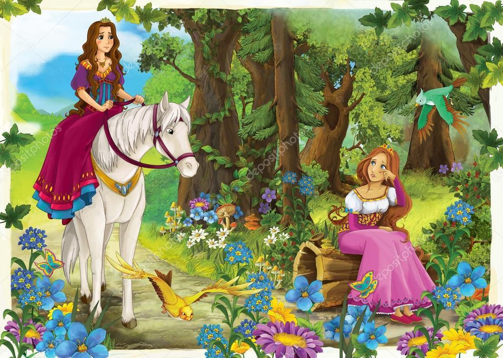 Cartoon girl riding on a white horse