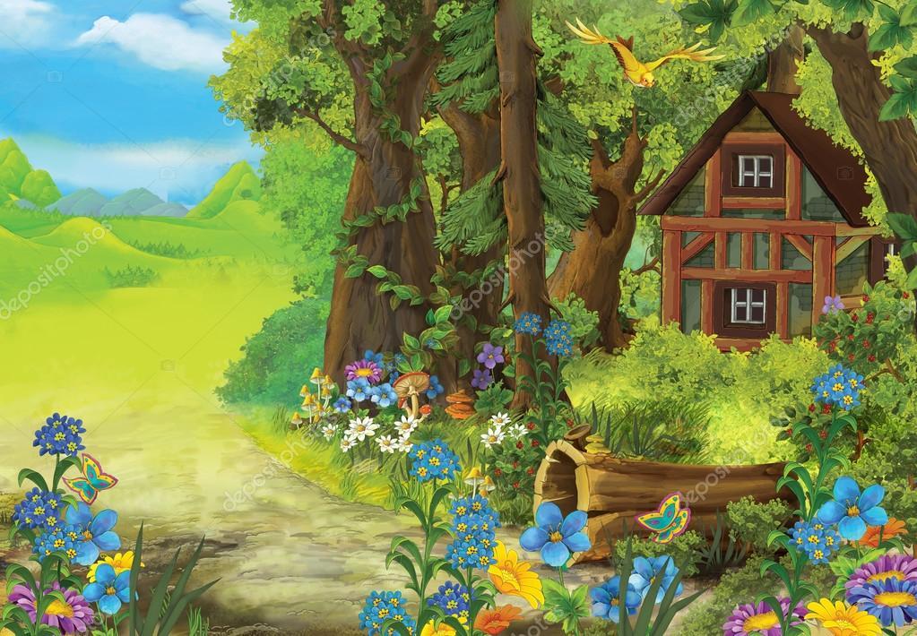 Coloriage Maison Dans La Foret.Scene De Nature Dessin Anime Avec Vieille Maison Dans La