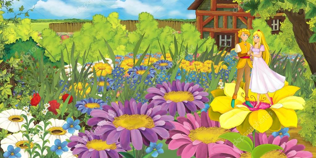 farm scene with prince and princess on flowers