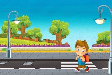Cartoon scene with child walking on the street