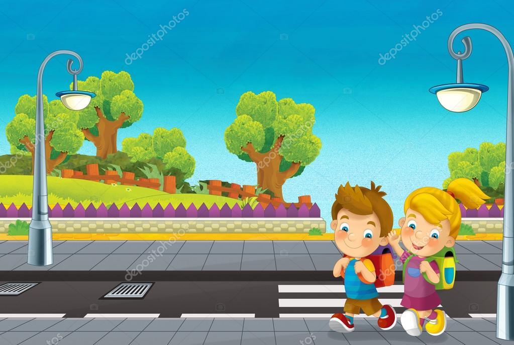 Cartoon scene with children walking on the street