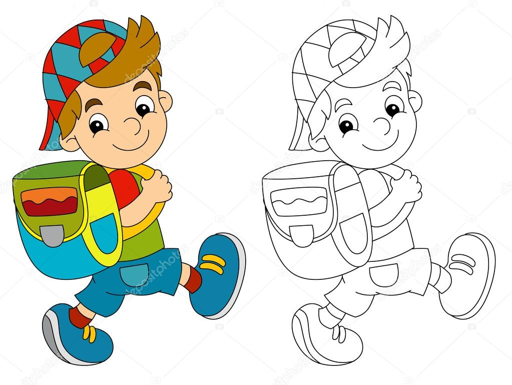 Dibujos: Niño Con Mochila Dibujo