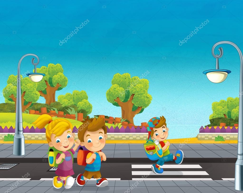 Escena De Dibujos Animados Con Niños Caminando En La