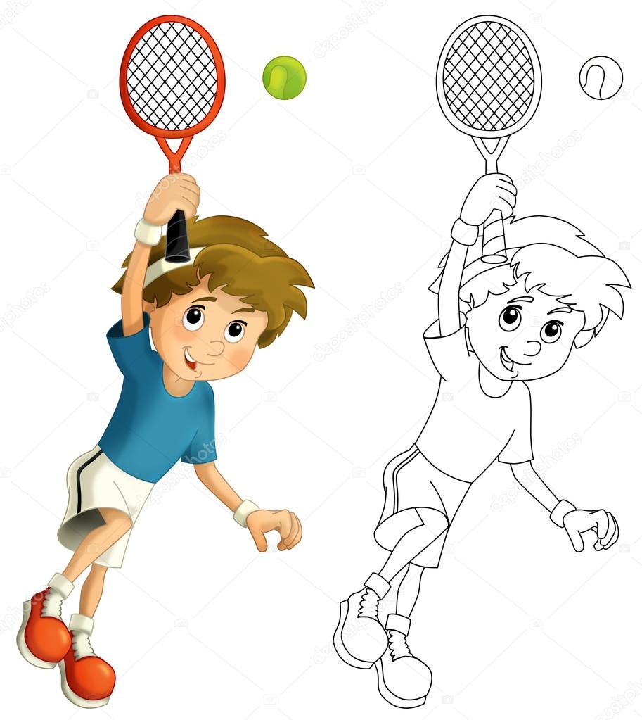 Niño jugando tenis - saltando con raqueta de tenis — Foto ...
