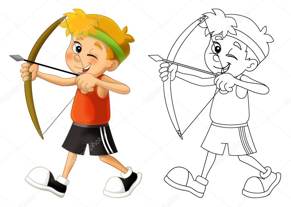 Niño tiro - arco - página para colorear — Foto de stock ...