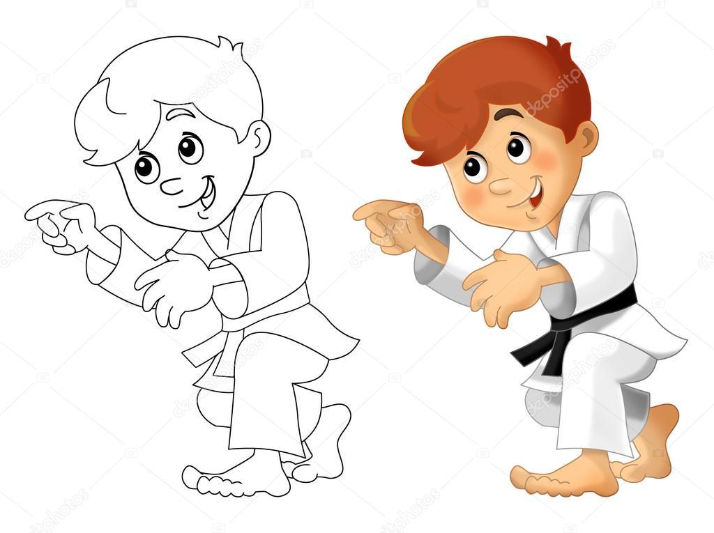 Eğitim Boyama Sayfası Izole Karikatür çocuk Stok Foto