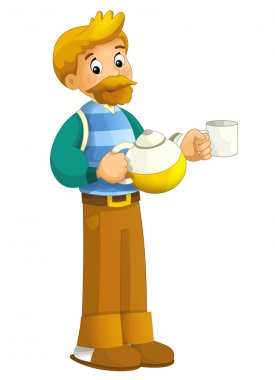 Cartoon man standing with a teapot and a cup