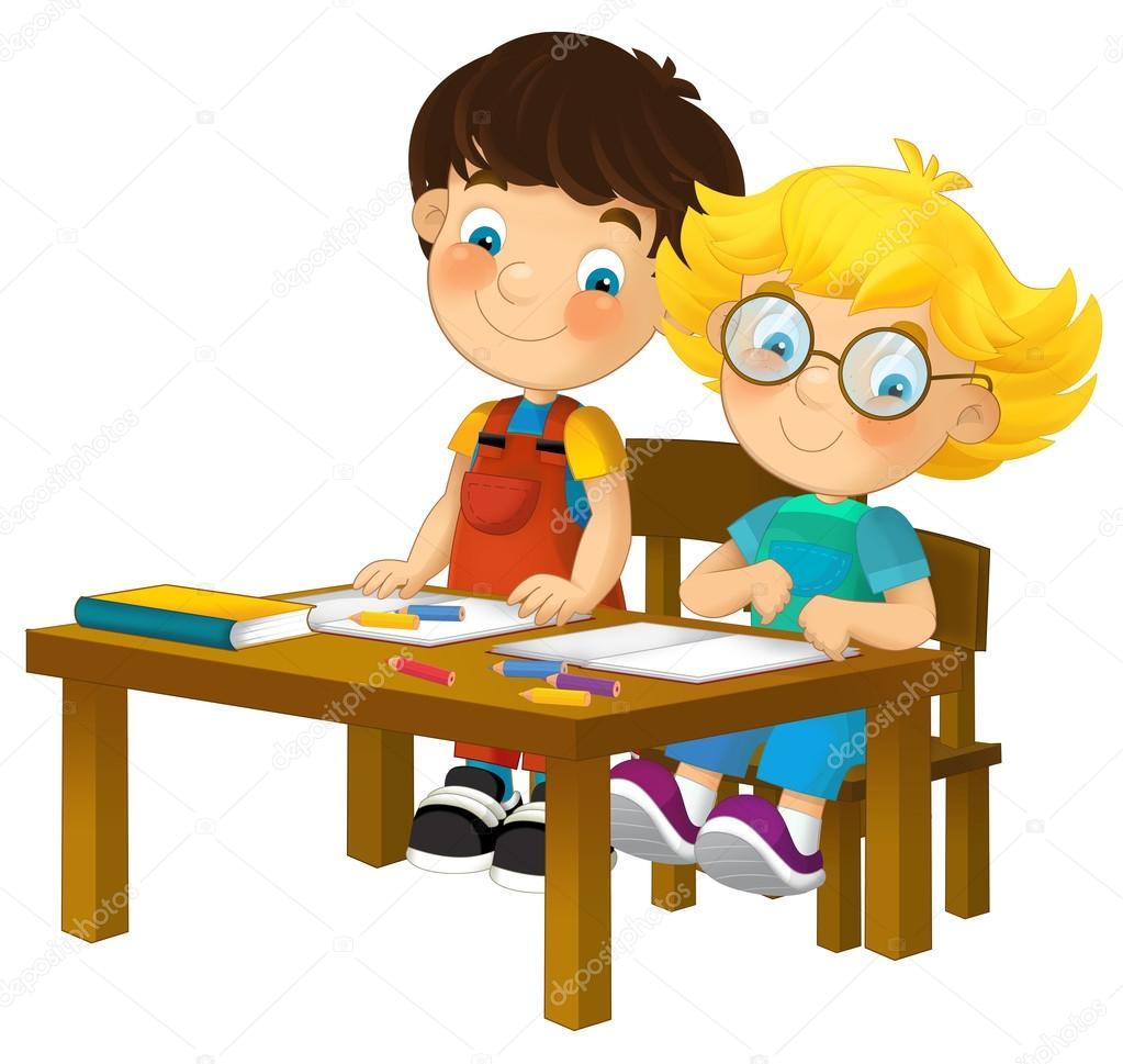 Cartoon Kids In School Desk Isolated Stock Photo