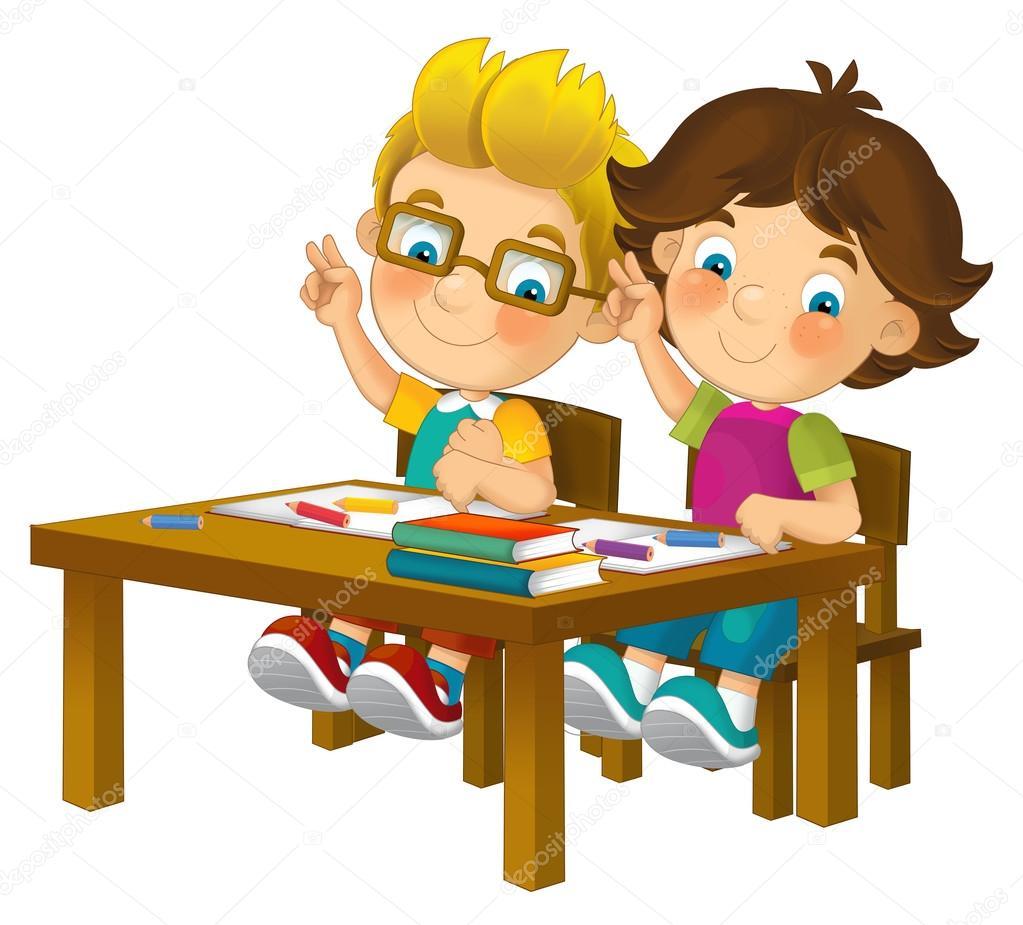 Enfants dessin anim dans le banc d 39 cole isol - Imagenes de bancos para sentarse ...