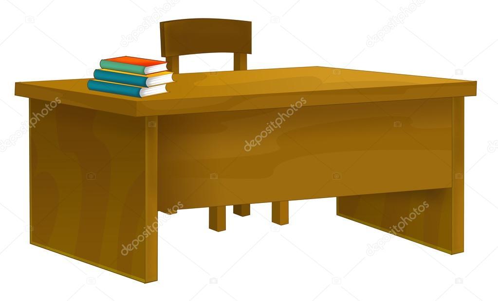 Escritorio de la escuela de dibujos animados aislado - Mesas de libro para salon ...